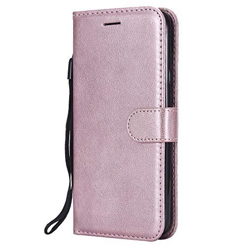 Yiizy handyhülle für Motorola Moto G6 Plus Ledertasche, Fashion Stil Lederhülle Brieftasche Schutzhülle für Moto G6 Plus hülle Silikon Cover mit Magnetverschluss Kartenfächer (Roségold)
