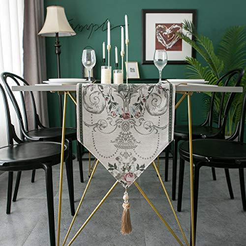 Chemin De Table Jacquard De Style Européen Chenille Gland Ménage Tapis De Table Toute L'Année Salon Universel Table Basse TV Comptoir Tissu