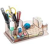 URbantin - Portalápices con dispensador de cinta adhesiva, organizador de escritorio con 7 compartimentos, organizador de mesa, dispensador de cinta acrílica para niños, color marrón transparente