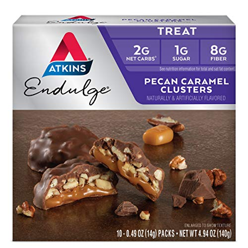 Atkins Pecan Caramel Clusters. Rich and Decadent Treats with Chocolate, Caramel, and Pecans. (10 Clusters per Box) from Atkins Nutritionals, Inc.