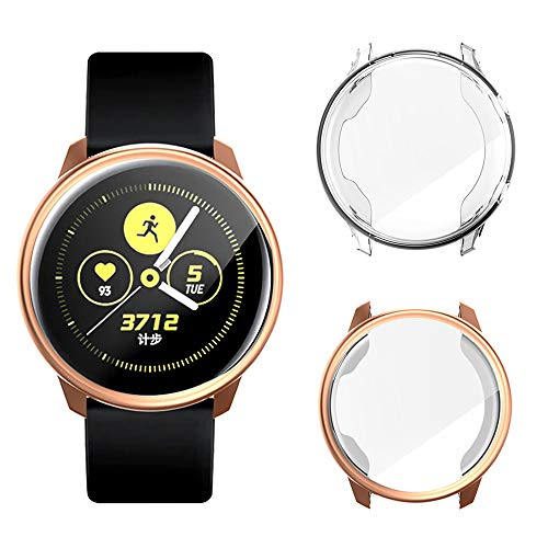 CooBES[2-Stück Kompatibel mit Samsung Galaxy Watch Active 40mm Hülle Schutzfolie, Weiche TPU Hülle Schlankes Leichte Schutzhülle Abdeckung Bildschirmschutz für Galaxy Watch Active (Champagner+Klar)