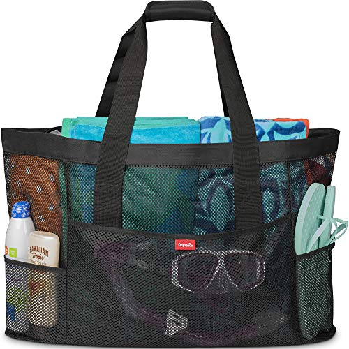 Oahu XL Mesh Beach Bag Tote, Extra Heavy Duty with Zipper, 8 Large Pockets and Bonus Waterproof Cellphone Case (Black)