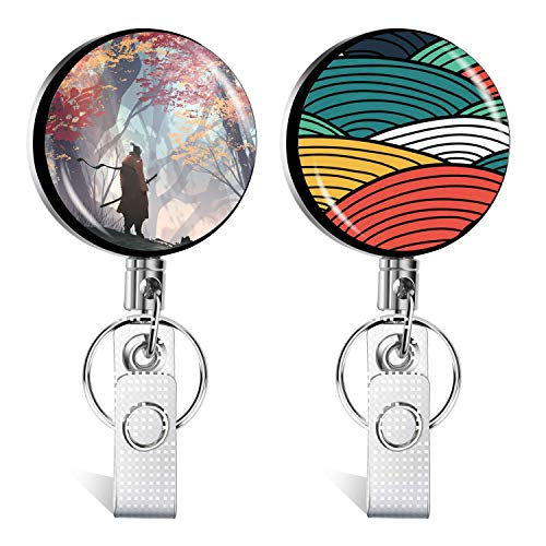 Retractable Badge Holder Reel, Metal ID Badge Holder with Belt Clip Key Ring for Name Card Keychain