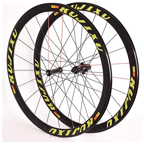 Ciclismo Ruedas Juego Ruedas Bicicleta 700C para Bicicleta Carretera Llanta Doble Pared V- Freno Centro Tarjetas 8-11 Velocidad 6 Rodamientos Sellados QR 2050g (Color : Green)