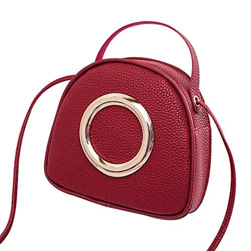 YIY vrouwen Smiley gezicht vorm PU cosmetische make-up tas handtas Crossbody tas Schoudertas voor dames 18.5 * 6 * 17cm Rood