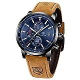BENYAR Herren Uhr Chronograph Analogue Quartz Uhr Männer Business Schwarz Zifferblatt Armbanduhr mit Leder Armband Braun