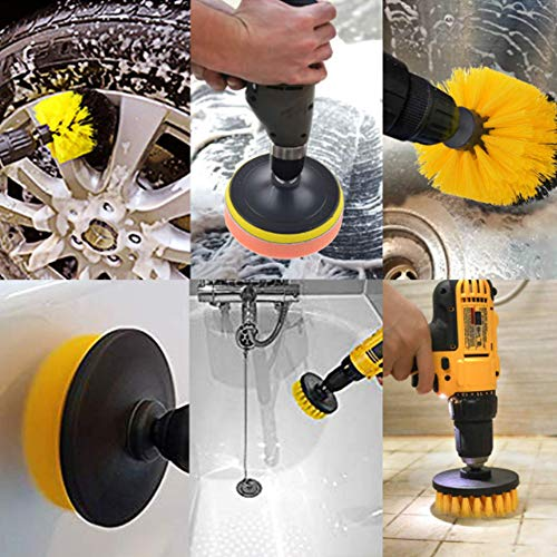 JOQINEER,22piece Drill Brush Attachment Set Power Scrubber Drill Brush kit scrubing Pads Cleaning kit,Drill Brush Attachment,Tile sealants Bathtub Sinks Floor Wheels Carpe