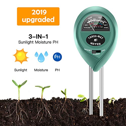 Best Price Soil Moisture Sunlight Ph Test Meter,Soil Tester Meter, 3-in-1 Test Kit for Moisture, Light and pH, for Home and Garden, Lawn, Farm, Plants, Herbs & Gardening Tools, Indoor/Outdoors Plant Care
