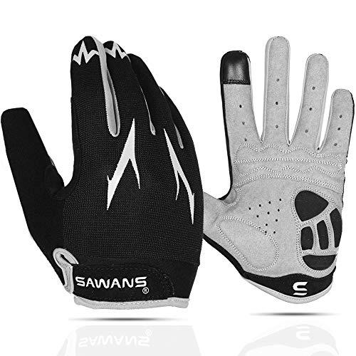 Cycling Gloves Full Finger Mountain Bike Gloves Padded Breathable Touchscreen MTB Road Biking Gloves for Men Women Camping,Cycling,Running (Black, M)