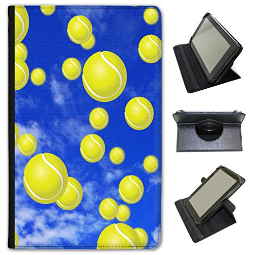 Fancy A Snuggle It's Raining Tennis Balls Universal Faux Leather Case Cover/Folio for the Samsung Galaxy Tab E 9.6 inch