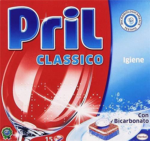 Pril Classico Tabs - Limpiador desincrustante para lavadora con bicarbonato, 15 pastillas