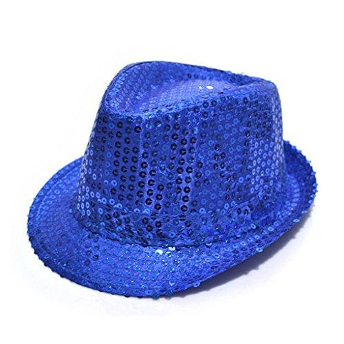 MMRM Unisexe Enfant Panama Paillette Chapeau Feutre pour Mascarade Noël Partie Bal Costumé (Bleu Foncé)