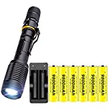 Super Bright Tactical Flashlight, with 6PCS Rechargeable 18650 3.7V 9800mAh...