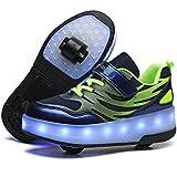 Zapatillas con Ruedas para Niños 7 Colores LED Luz Luminosas Zapatos Doble Rueda Patines Calzado Deportivo al Aire Libre Niño y Niña Gimnasia Zapatos de Skateboard Moda Gimnasia Zapatos de Skateboar