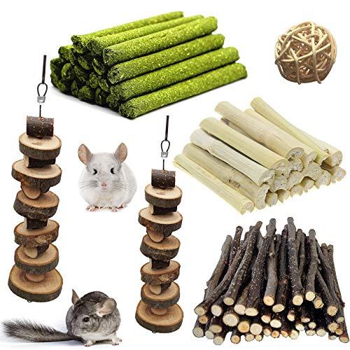 LMYKH Hasen Kauspielzeug, Hamster Spielzeug, Kaninchen apfelstäbchen, Timothy Sticks, Kleintiere Kauspielzeug für Meerschweinchen, Chinchilla