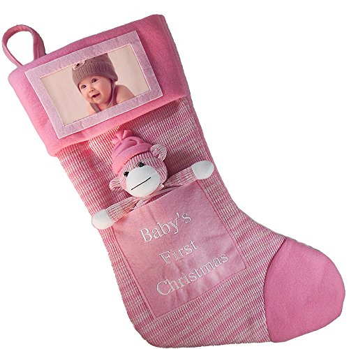 Babys First Christmas Stocking; Baby Girl Stocking with Removable Soft Toy; with Picture Frame - Personalize it with Babys Picture! (Pink)