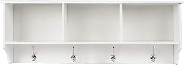 Wall Coat Rack Display Storage Unit Coat Hooks with Shelf 3 Components 4 Hooks White 98 * 20 * 35cm zhaoyun (Color : White)