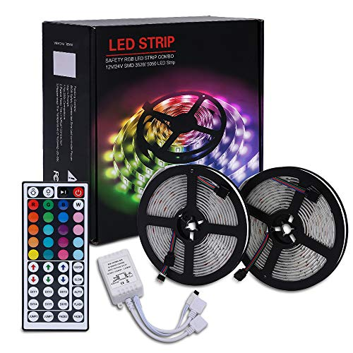 FKXS 32.8 ft/10m LED Light Strip, Waterproof, Flexible Color Changing with 44 kets Remote, 5050 RGB LED Light Rope for Bedroom, Kitchen, Party Decoration.