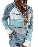 Sudadera con Capucha para Mujer Manga Larga Patchwork Ligero Suéter Jersey de Punto Suelta Casual Camisa Hoodie Sweatshirt Otoño Primavera Azul M
