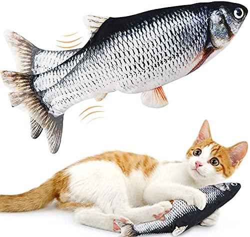 GEEMEE 猫 おもちゃ 電動魚 ペットおもちゃ魚 ねこ用USB充電式噛む動ける魚 取り外して洗えるおもちゃの魚 シミュレー魚 ストレス解消 運動不足解消 猫グッズ 一人遊び