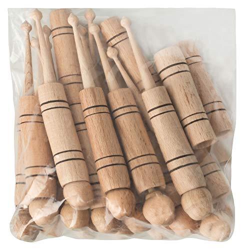 Desermo - Bolillos en bolsa de 20 unidades (juego de 10 parejas) de madera, artesanía tradicional
