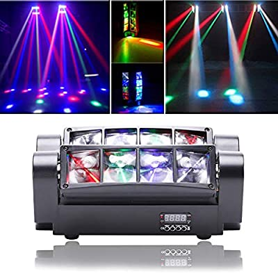 UKing Moving Head Light Stage Effect LED DMX512 Spider lamp RGBW Voice Control for DJ Lighting Bar Club Disco Party (60W)
