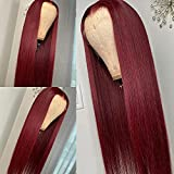 99J Burgundy Wine Red Silky Straight Transparent 13x4 Lace Front Brazilian Human Hair Wigs Pre Plucked Remy Hair 180% Virgin Hair Wigs for Women (24inch, 13X4 lace Front)