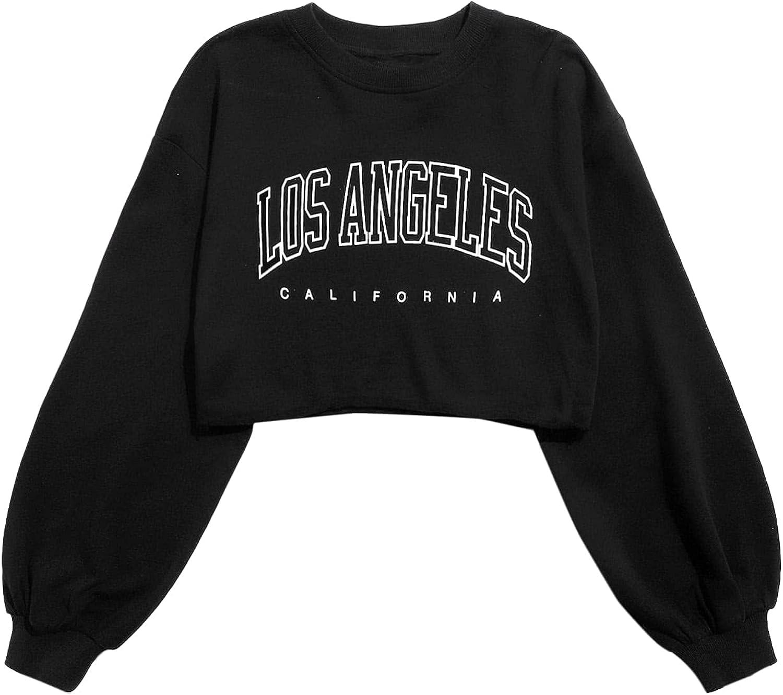 SheIn Women's Drop Shoulder Long Sleeve Round Neck Crop Pullover Sweatshirt