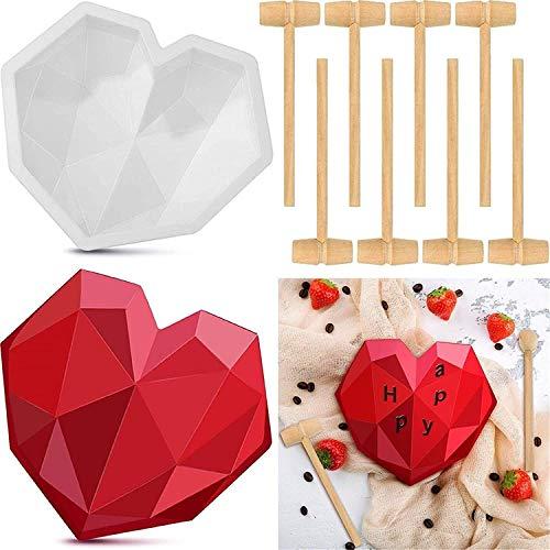 2021 nouveau moule à chocolat, 6 moules à gâteau en silicone coeur diamant avec plateau de numéro de lettre joyeux anniversaire, comprend un jouet de marteau en bois