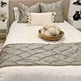 Bed Culture Pinch Pleated Bed Runner with 3 Pieces Solid with 2 Pillow Shams Egyptian Cotton Soft Fade-Resistant Easy Care Decorative Bed Scarf [ (95' X 18'), Silver]