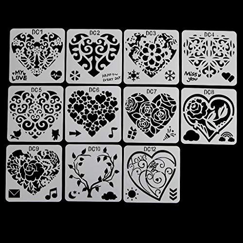 Mya Zeichenschablonen, für Kinder, Herzform, Blume, Schablone, Herzform, Blume, Malschablone, Zeichenschablone, Blumenmotiv, Kunststoff, wiederverwendbar, Karte, Basteln, für Scrapbooking