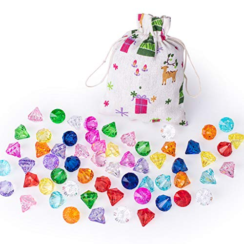 IVLWE 50 PCS Big Size Diamond Gems Toys,Chirstmas Gift,Santa Gift, Kids Plastic Acrylic Crystal Gems, Award for Kids, Playing House Kits, with Small Hole Party Favor Gift