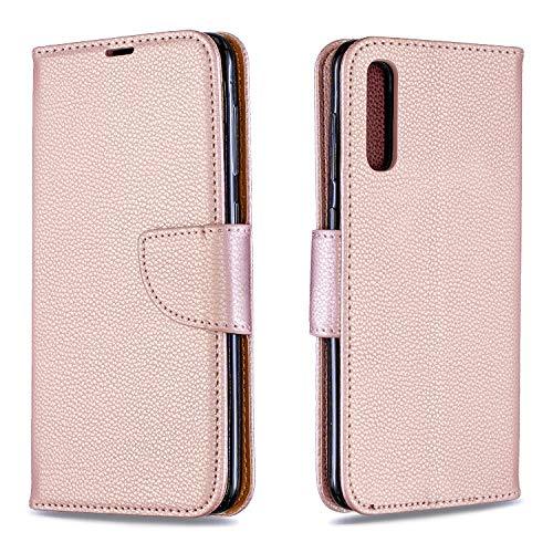 Huphant Compatible for Schutzhülle Samsung Galaxy A50 Hülle,Brieftasche Klapphülle Ständer Kartenfächer Solid Color Geschäft Wallet Flip Hülle for Samsung Galaxy A50 Handyhülle -Pink