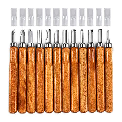 SDLAJOLLA Conjunto de ferramentas de escultura, 12 peças de goivas para esculpir à mão com bolsa com zíper, ferramenta de esculpir artesanal, acessório de artesanato para cerâmica e artesanato em madeira
