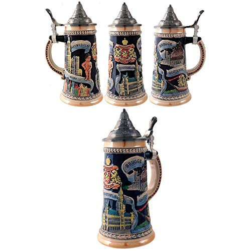 2501-24894-Jarra de cerveza decorativa 700 ml. BELGIUM. Jarra de cerveza alemana de cerámica.