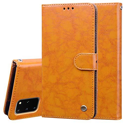 Nadoli Leder Hülle für Samsung Galaxy S20 Plus,Retro Ölwachs Premium Pu Leder Magnetverschluß Ständer Klapptasche Kartenfäche Flip Schutzhülle Tasche Brieftasche