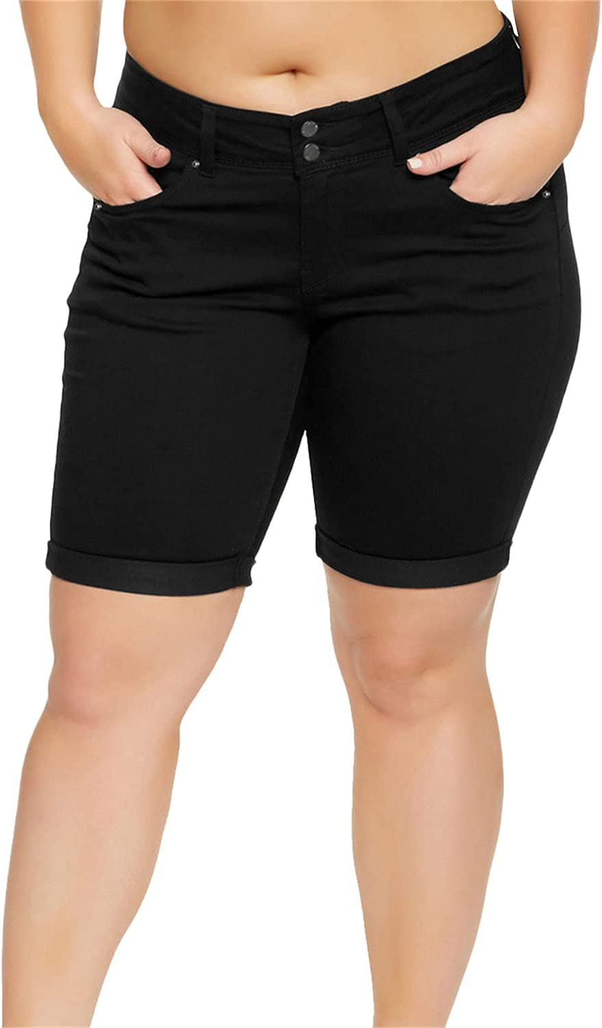 Womens Plus Size Classic Denim Shorts Mid Rise Stretchy Folded Hem Shorts Jeans 2 Button Relaxed Fit Comfort Jean Short (Black,X-Large)