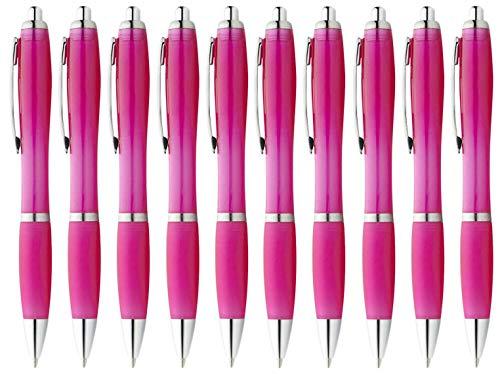 StillRich Industries 10 Stück pinke Regenbogen Kugelschreiber Set Premium Kulli, ballpoint pen, hochwertige, ergonomische und blauschreibende Kugelschreiber (pink)