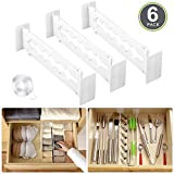 Runpo Adjustable Drawer Divider 6 Pack with Traceless Transparent Nano Gel Mat Tape Strong Secure Hold in Place - for Bedroom Bathroom Baby Drawer Desk Kitchen Drawer Storage White
