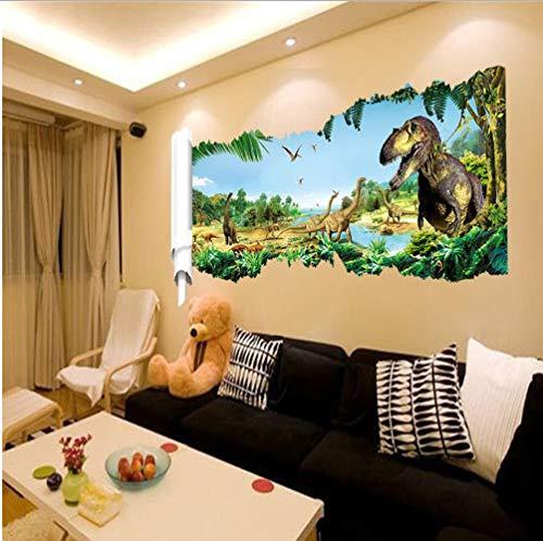 ahliwei Wandaufkleber Wandtattoo Zeichentrick Dinosaurier Bunte Hintergrund 3D Für Kinder Baby Tier Shome Dekoration