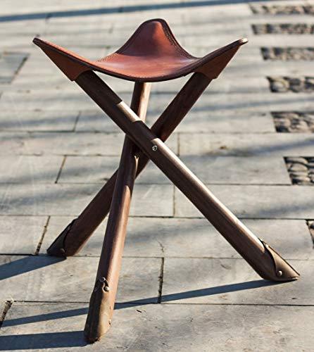 JFSKD Gepersonaliseerd huis Mazar kruk stoel retro draagbare outdoor lederen rundleer opvouwbare visstoel