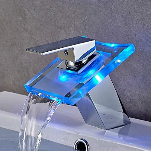 NKESY Tricolor LED Kraan, Sink Mixer Temperatuur Controle Van Een Waterval Beker, Geschikt voor wastafels en baden