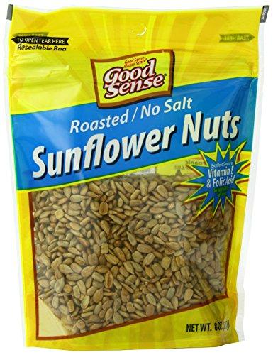 Good Sense Sunflower Kernels (shelled sunflower seeds), Roasted No Salt, Non-GMO, All Natural, 8OZ (8-Ounce) Resealable Bag (Pack of 12)