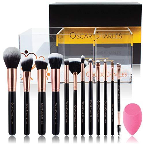 Oscar Charles Set di pennelli per trucco professionale Radiance con spugna di bellezza e portaspazzole (oro rosa) (Salute e Bellezza)