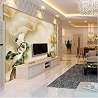 Ljjlm カスタムの大きなフレスコ画3D翡翠彫刻蓮クレーン背景壁不織布環境壁紙Papelde Parede-260X180Cm