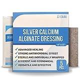 JJ CARE 4' x 5' Silver Alginate Wound Dressing Pads Pack of 5, Calcium Alginate Wound Dressing, Patches,...