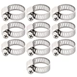 uxcell Steel Adjustable Worm Drive Gear Clip Clamping Range Hose Clamp, 3/8-5/8 Inch Dia Pack of 10 Silver Tone