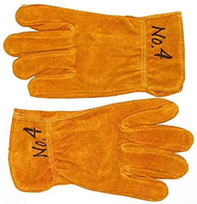 GnarPack No.4 - Youth, Kids and Children Golden Suede Cowhide Leather Work and Garden Glove for Boys and Girls. Approximate Age Fitting 7-12 yrs (1)