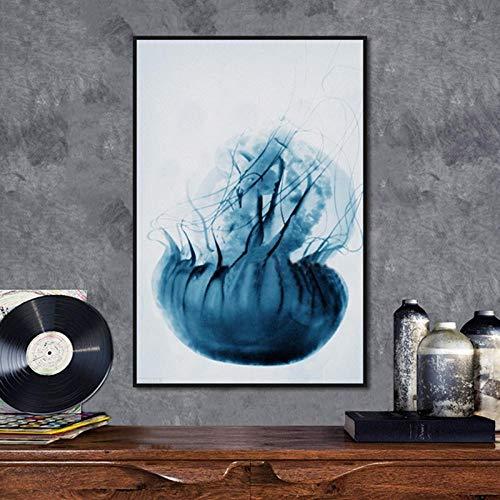 LLXXD Europäische Moderne minimalistische Blaue Qualle Veranda Kinderzimmer dekorative Malerei-50x70cm (kein Rahmen)