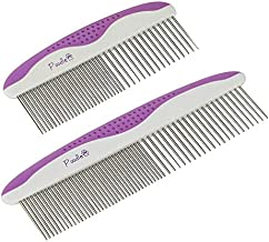 Poodle Pet Dog Combs for Grooming | 2 Pack | Stainless Steel Teeth Easily Remove Dirt | Proper Care Prevents Knots and Mats for Long and Short Haired Pets |Anti-Slip Comfort Grip Handle| Purple